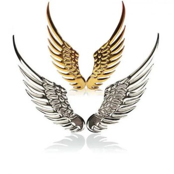 FREE SHIPPING 1 Pair Car Styling Car Sticker Angel Wings Fashion Metal Stickers 3D Wings Car Sticker Car Motorcycle Accessories Gold/silver Free shipping