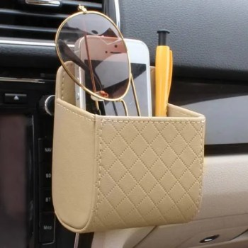 FREE SHIPPING Car Outlet Vent Seat Back Tidy Storage Box PU Leather Coin Bag Case Pocket Organizer Hanging Holder Pouch Automobile Accessories Accessories
