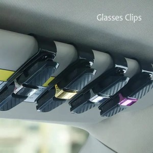Car & Motorbike Car Glasses Clips Carbon Fiber Card Pen Holder 180 Degree Rotate Dual Side Clips Sun Visor Vehicle Accessory Car Organizer Clips 180 Degree