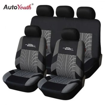FREE SHIPPING AUTOYOUTH Brand Embroidery Car Seat Covers Set Universal Fit Most Cars Covers with Tire Track Detail Styling Car Seat Protector Auto
