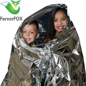 FREE SHIPPING 210*130CM Water Proof Emergency Survival Rescue Blanket Foil Thermal Space First Aid Sliver Rescue Curtain Outdoor Blanket