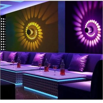 FREE SHIPPING LED Colorful RGB Spiral Wall Lamp Aluminum