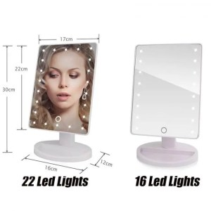FREE SHIPPING 22 LED Lights Touch Screen Makeup Mirror 1X 10X Table Desktop Countertop Bright Adjustable USB Cable Or Batteries Use 16 Lights Free shipping