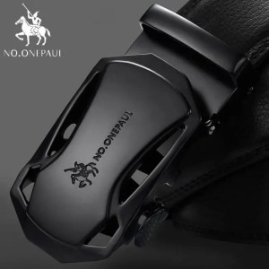 FREE SHIPPING NO.ONEPAUL Brand Fashion Automatic Buckle Black Genuine Leather Belt Men's Belts Cow Leather Belts for Men 3.5cm Width WQE789 Free shipping