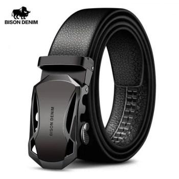 FREE SHIPPING BISON DENIM Men's Belt Cow Leather Belts Brand Fashion Automatic Buckle Black Genuine Leather Belts for Men 3.4cm Width N71314 Free shipping