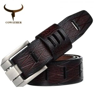 FREE SHIPPING COWATHER Handmade genuine luxury cowhide leather men belt QSK001 Beautiful
