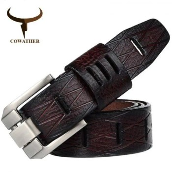 FREE SHIPPING COWATHER Handmade genuine luxury cowhide leather men belt for men QSK001 Free shipping