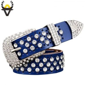 FREE SHIPPING Fashion Rhinestone Genuine leather belts for women Luxury Wide Pin buckle belt woman High quality Second layer Cowskin strap Belt