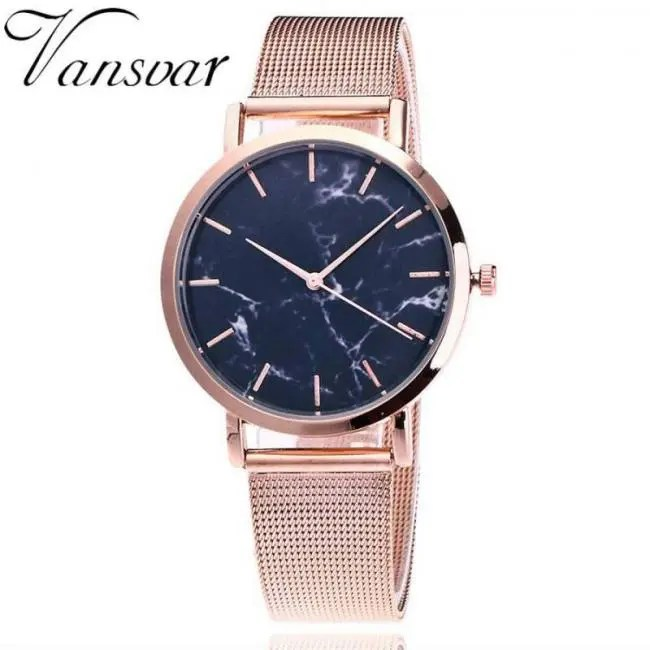 6da1efa387b Vansvar Brand Fashion Silver And Gold Mesh Band Creative Marble Wrist Watch  Casual Women Quartz Watches Gift Relogio Feminino