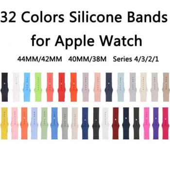 FREE SHIPPING 32 Colors Dark Olive/Rose Red/Cocoa/Pink sand Silicone Strap For Apple Watch Band 44mm/42mm 40mm/38mm Series 4/3/2/1 [tag]