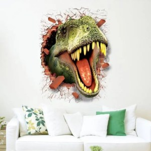 FREE SHIPPING Dinosaur sticker removable green 3D dino sticker painting home decor picture for children decorative car wall decor stickers Free shipping