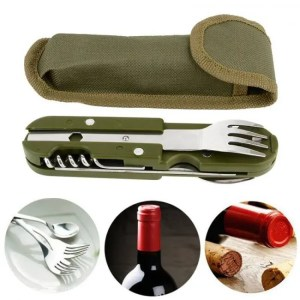 FREE SHIPPING Folding Tableware Spoon/Fork Multi Hiking Camping Utensil Stainless Steel Travel Camping