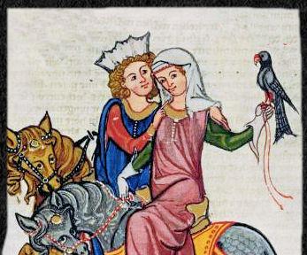 Höfisches Paar auf der Beizjagd - aus dem Codex Manesse