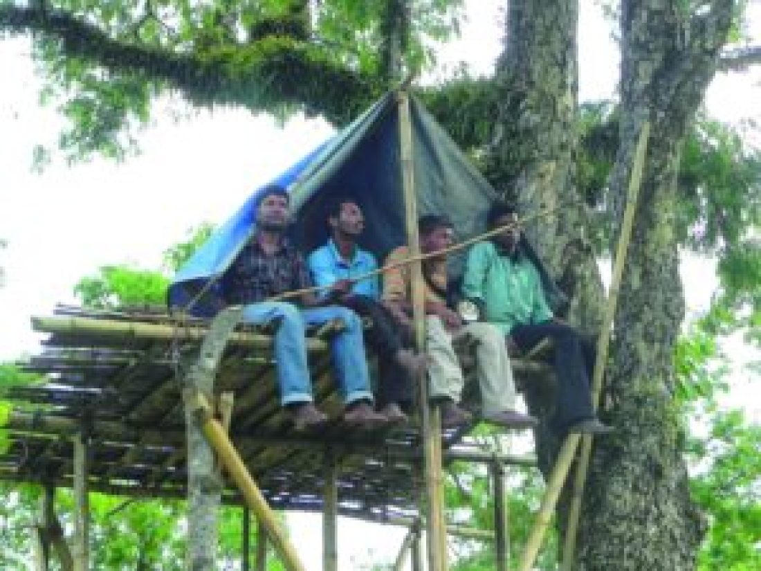 Habil Ekka (first from the left) and his fellow ADS members on a machan keeping a watch for wild elephants