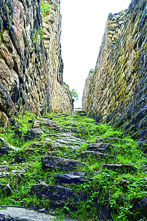 One of the infamous killing corridors of Kuelap