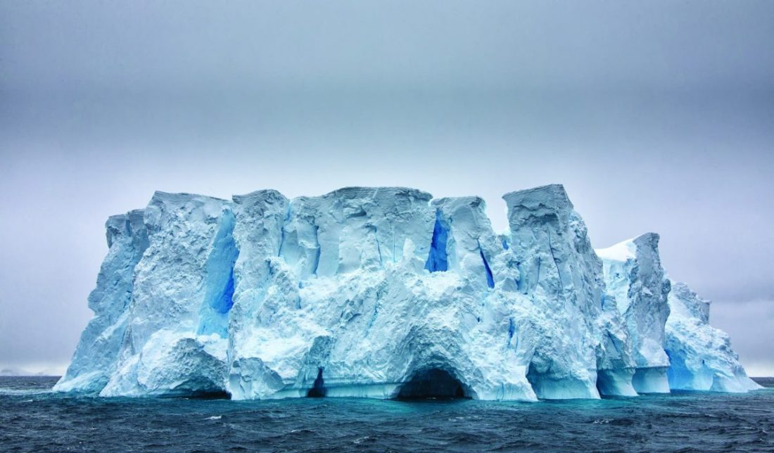Tabular iceberg resembling a fortress. Such icebergs can be approached closely even by a ship.