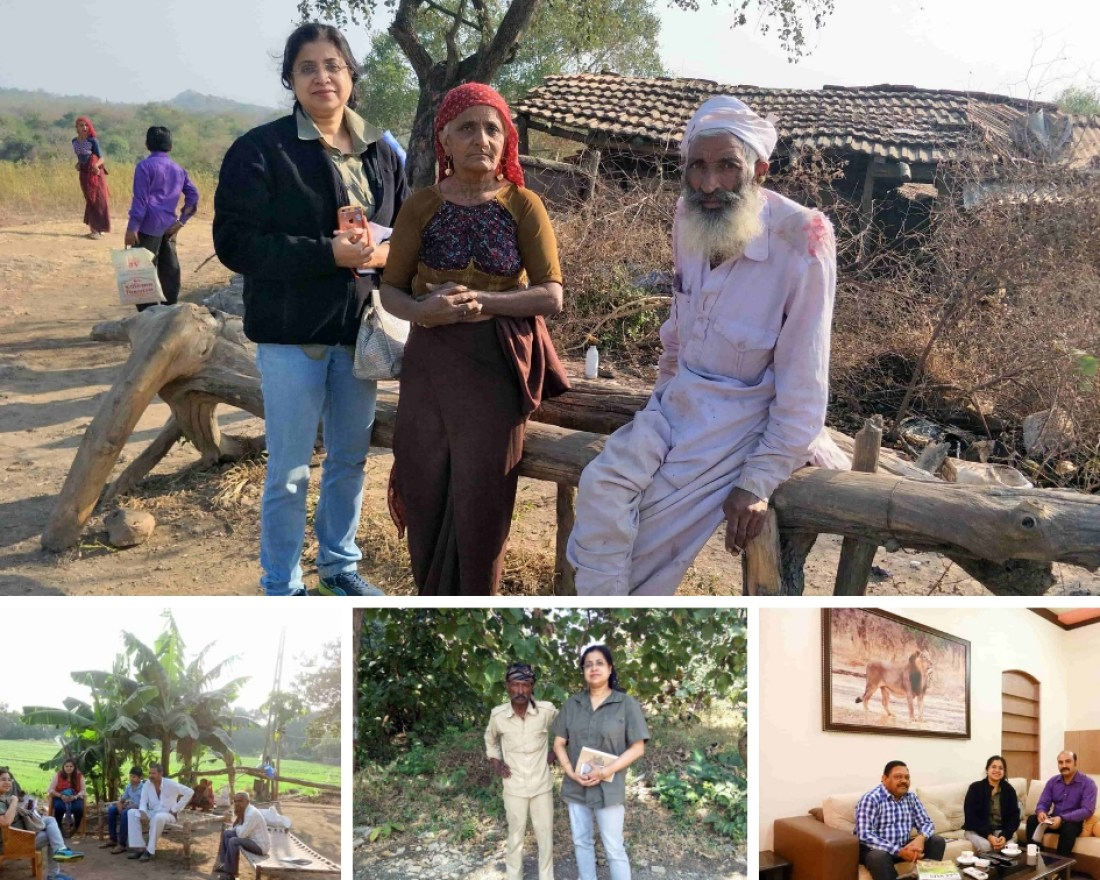 Glimpses of fieldwork: Interviews being conducted with local pastoralists, Forest Department personnel and wildlife trackers