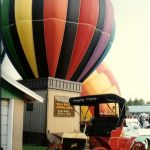 A hot-air balloon is made up of three components: basket, burners, an envelope
