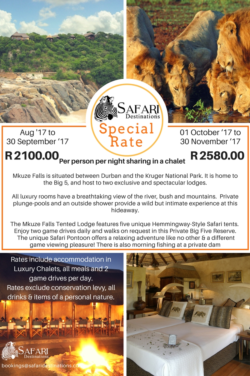Mkuzi falls safari lodge special