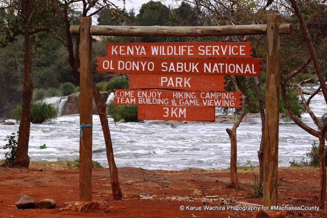 KWS sign board of the Oldonyo Sabuk National Park location of the Fourteen Falls