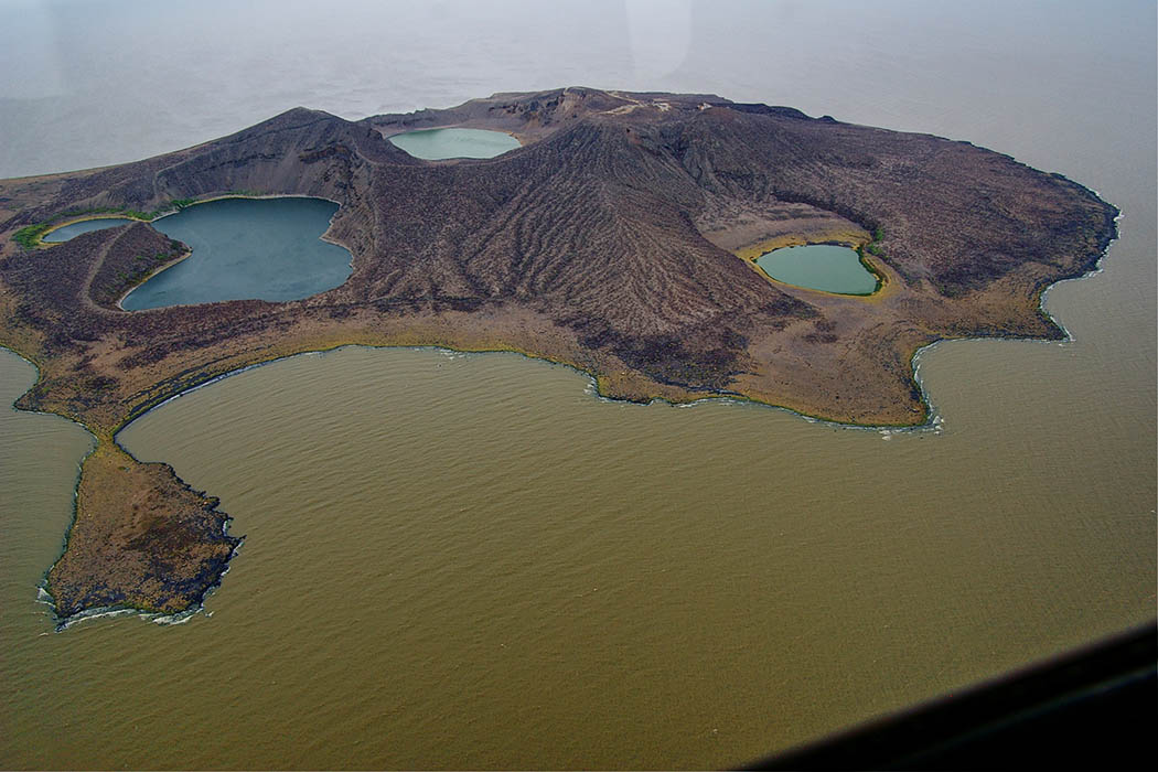 Nothern Kenya People and Places_ Lake Turkana central island aerial view