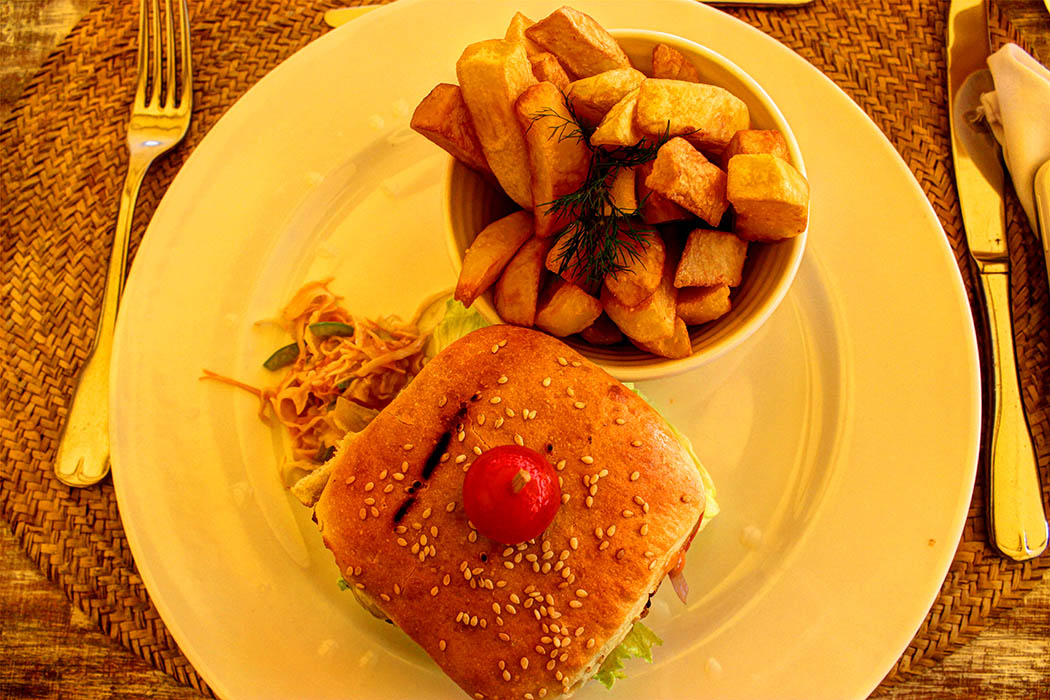 Sands at Nomad restaurant_Burger with fries