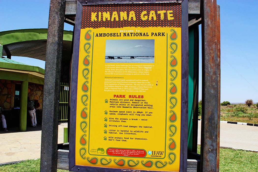 Amboseli National Park sign at gate