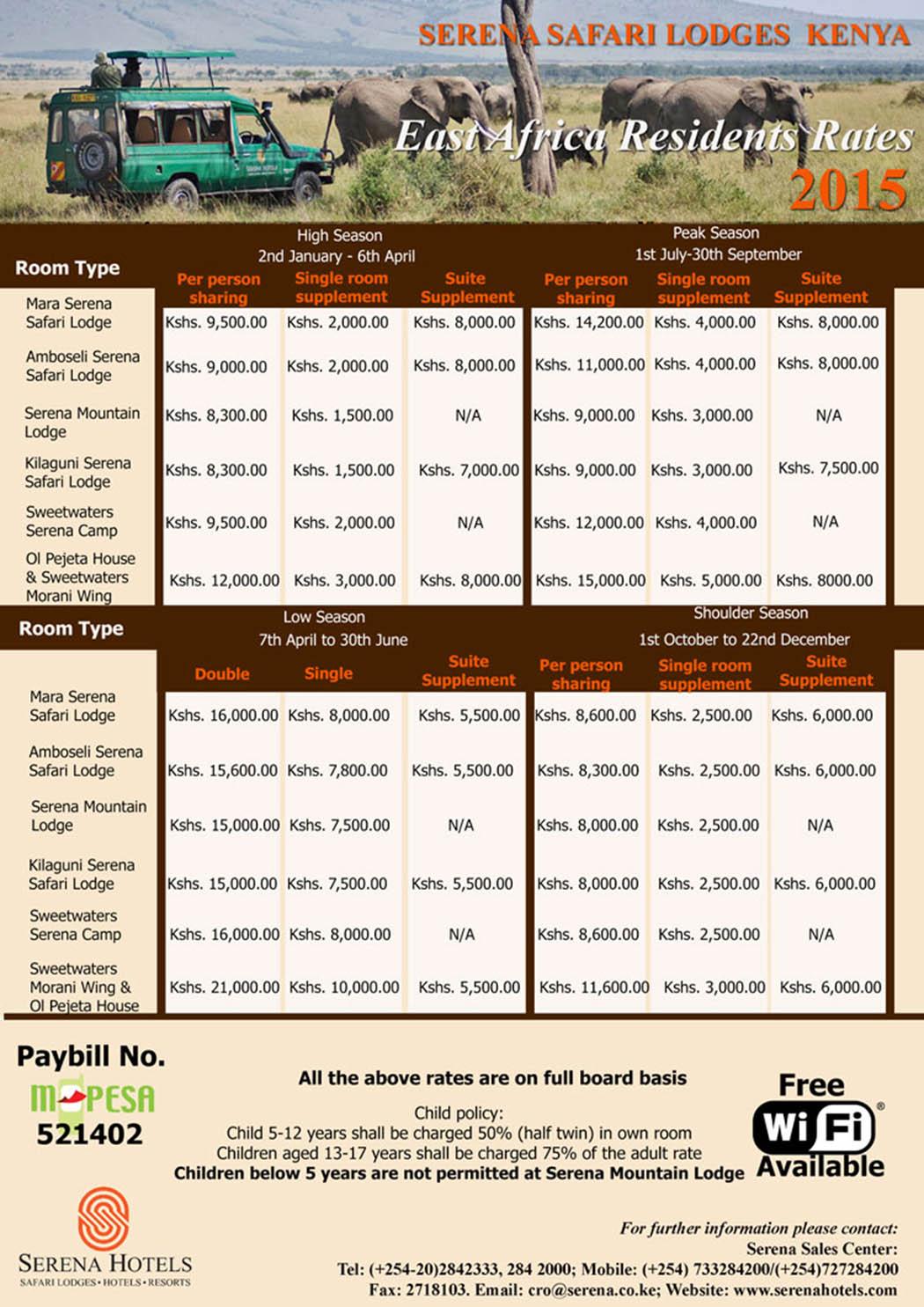 Serena hotels rates