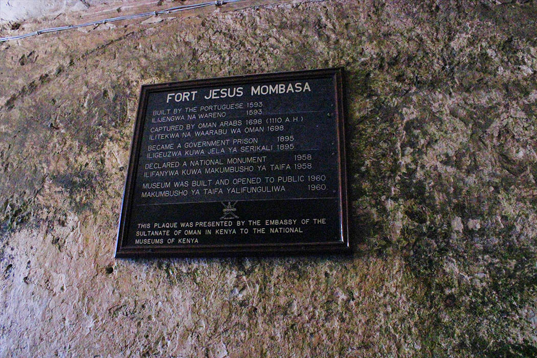 Fort Jesus Mombasa_sign at entance