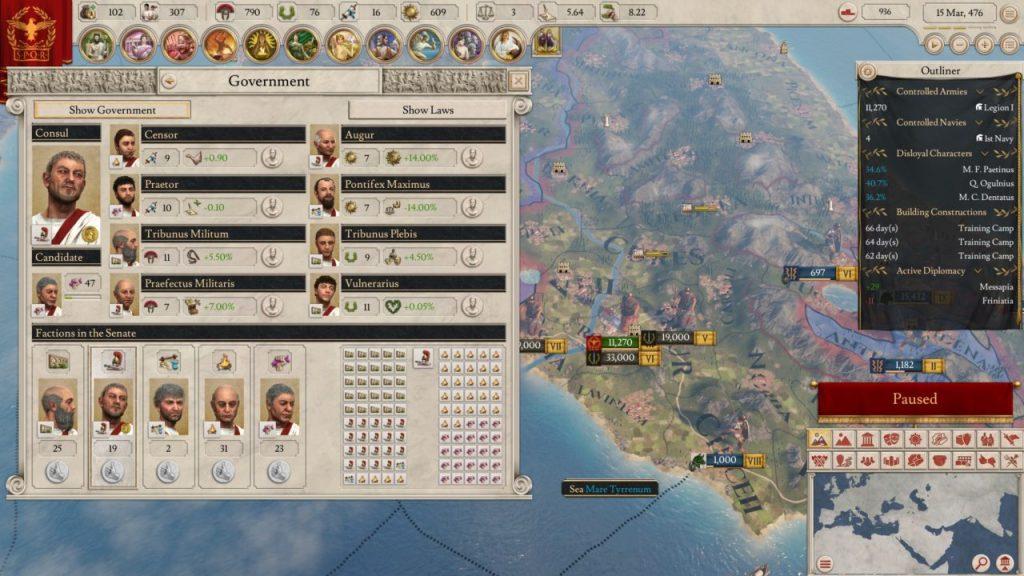 Il governante e il governo di Imperator Rome
