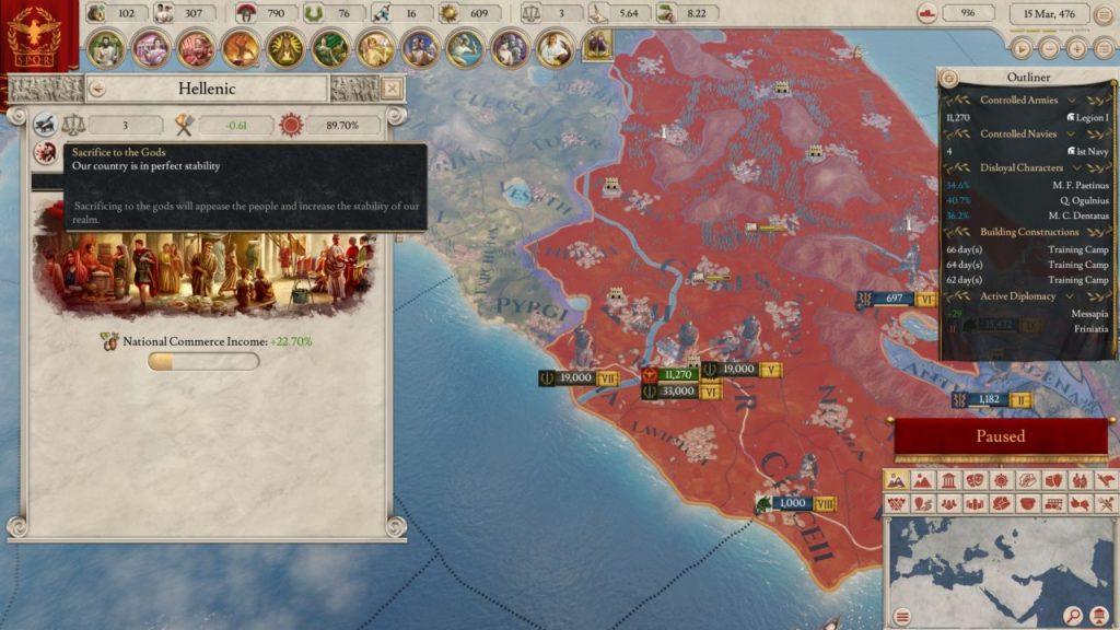 Religione, presagi e sacrifici in Imperator Rome