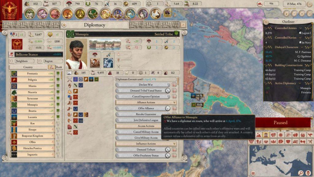Diplomazia, pazienza e attente valutazioni sono alla base di Imperator Rome