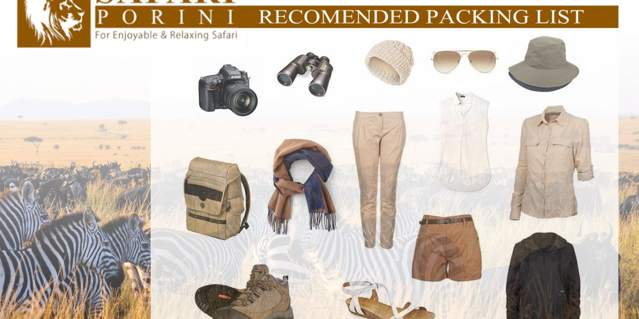 Safari Recommended Packing List