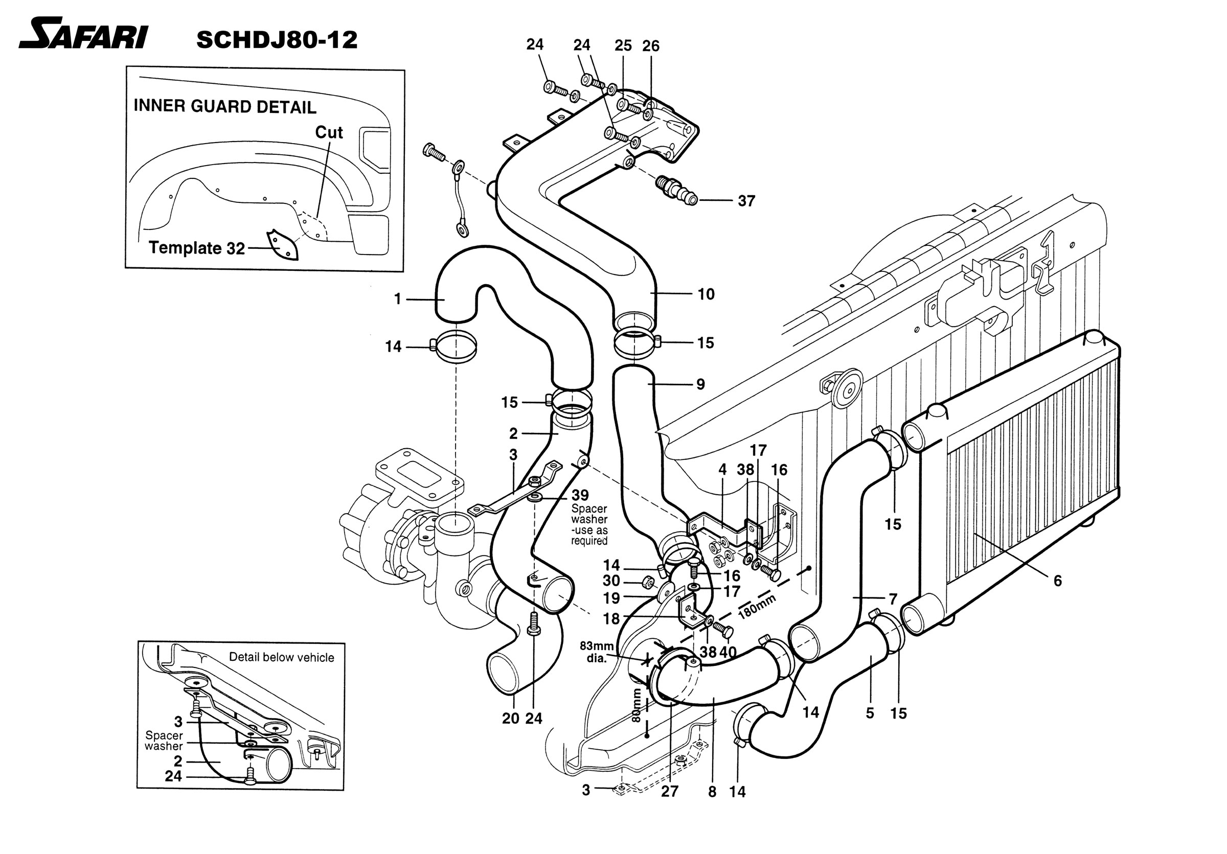 toyota fj40 wiring diagram open source safari diesel intercooler system for the land cruiser hdj80 80 series factory turbo 1hd t engine