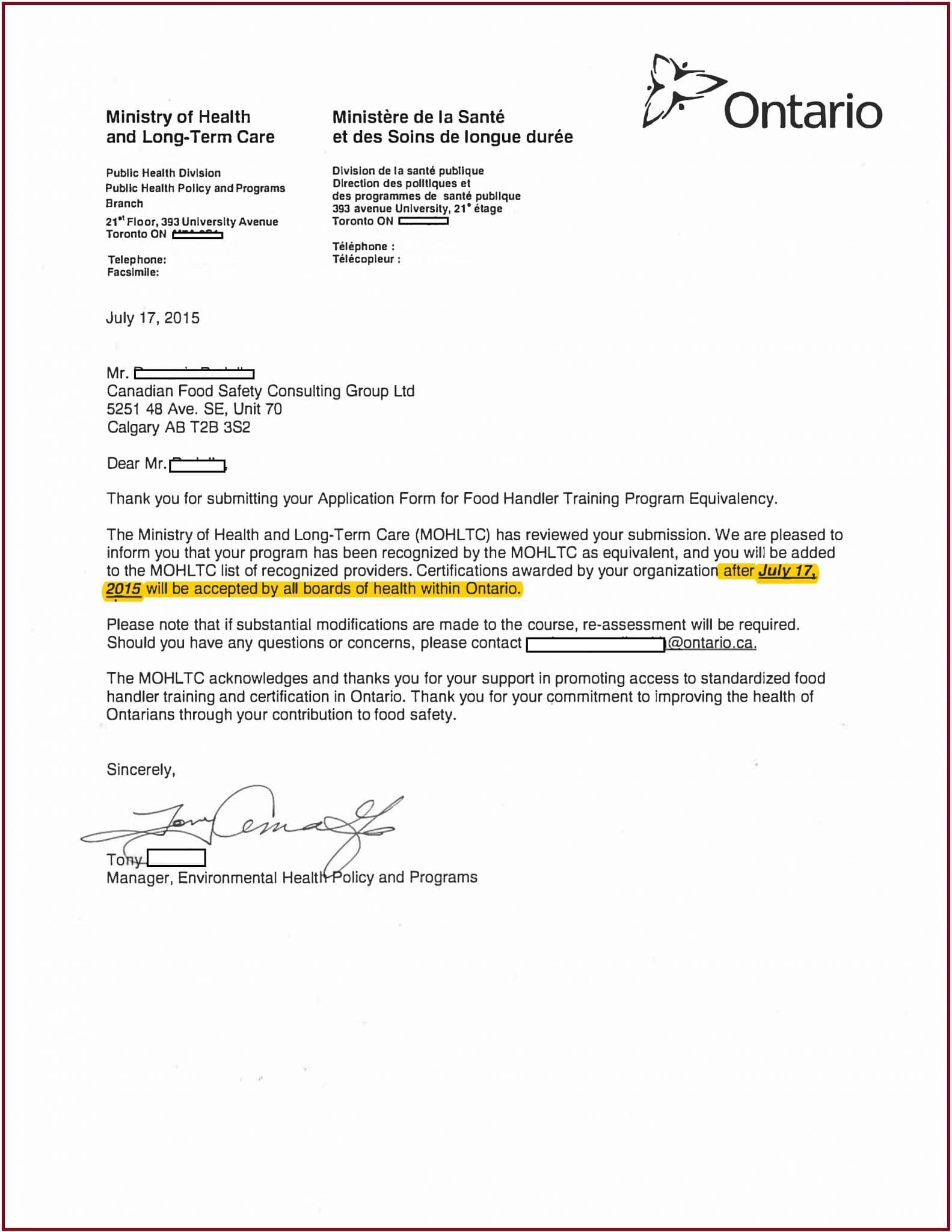 certificado de entrenamiento de manipulador de alimentos