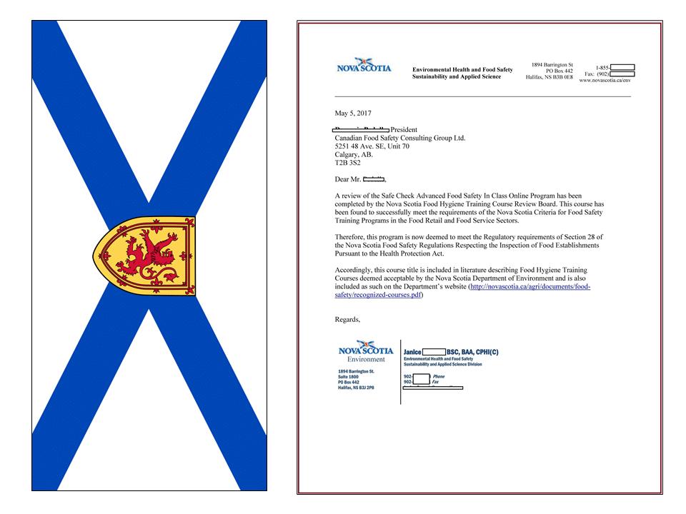 Nova Scotia Approval