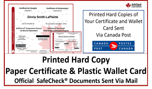 Mailed Hard Copy of Certificate and Plastic Wallet Card
