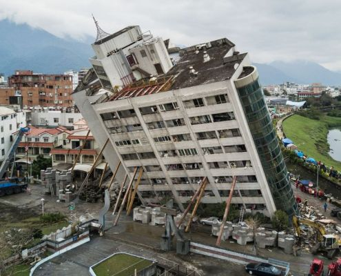 Safe design. Marshall Hotel, Taiwan earthquake.