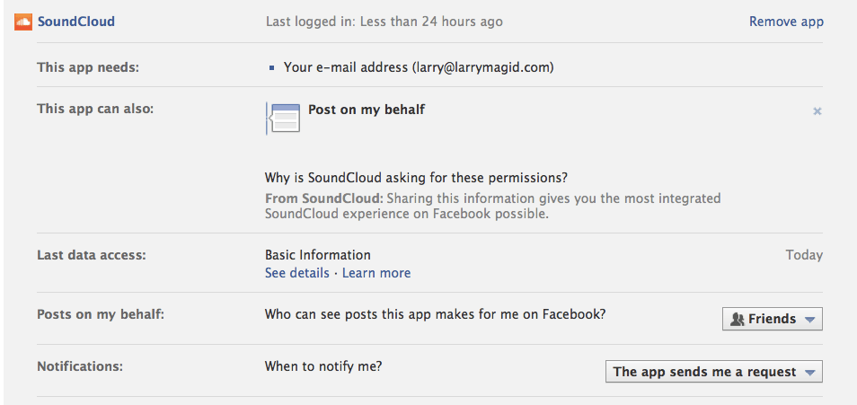 Facebook lets you edit apps' permission at any time.