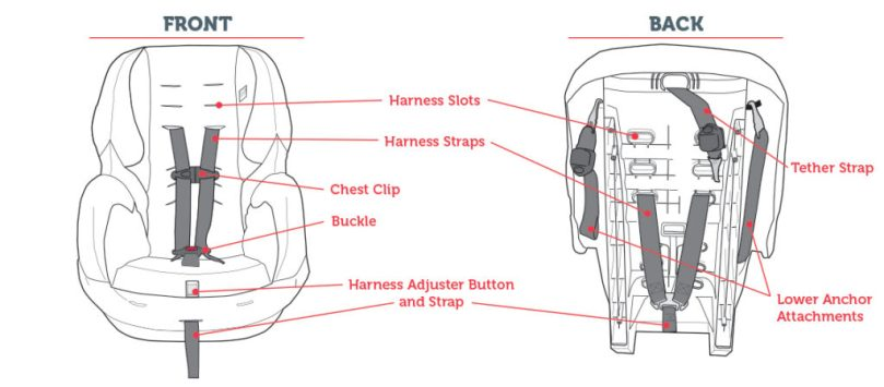 Basic parts on a car seat of the front and back of a car seat.