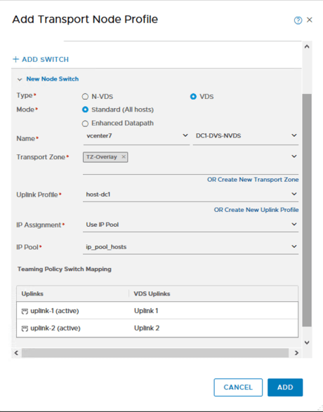 NSX-T 3.0 Add Transport Node profile