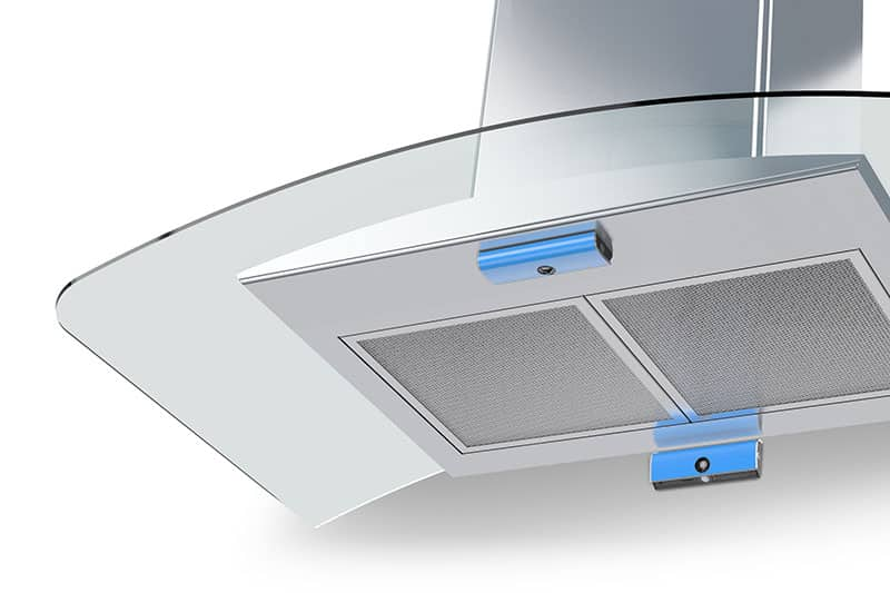 Safera Airis can be installed either on a wall above the cooktop or on the bottom of a cooker hood