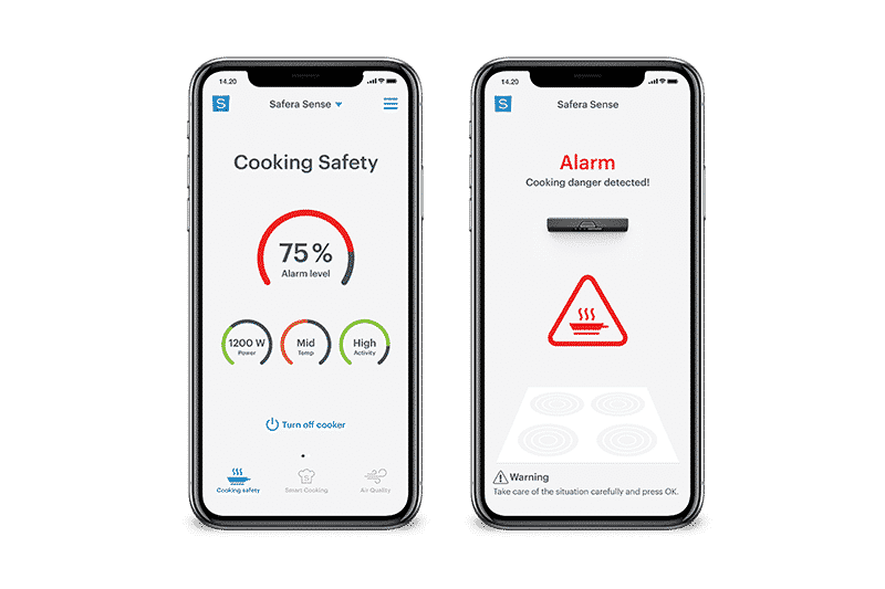 With Safera mobile app for Safera stove guard you can better monitor how safely you are cooking