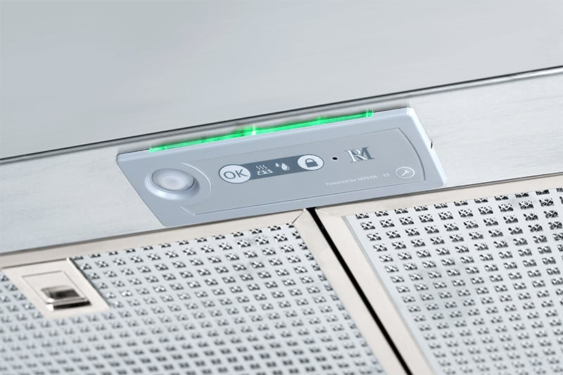 The sensor unit of Safera Siro stove guard is integrated into a cooker hood