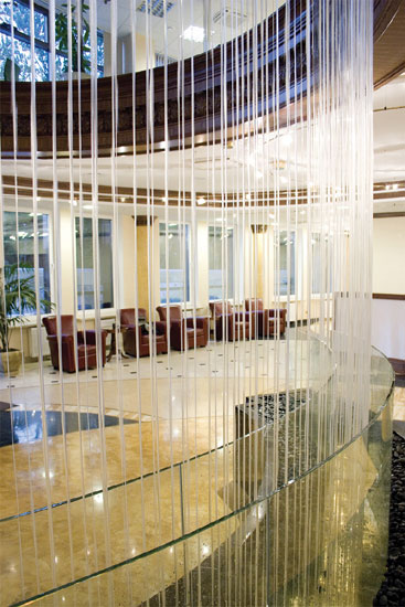 Cortina de agua para fuentes decorativas de interior