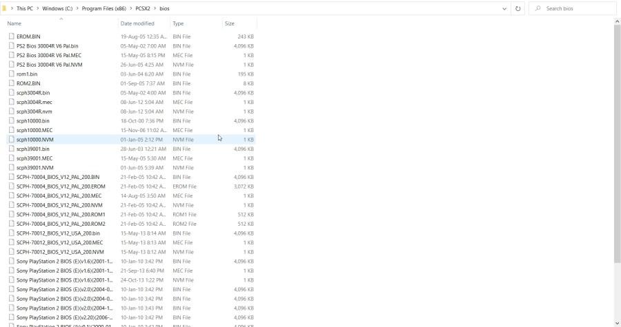 PS2 BIOS Files