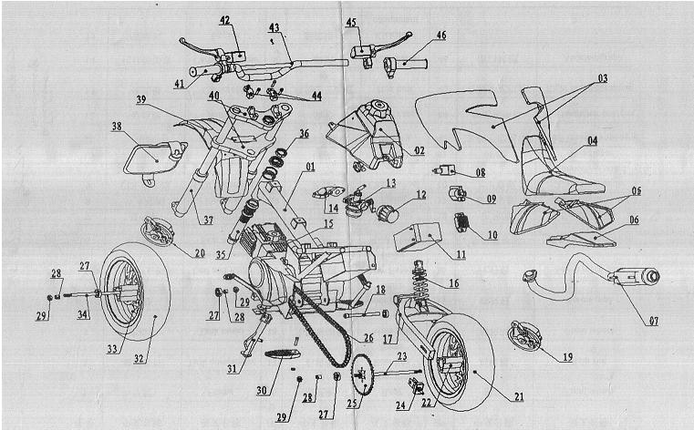 Tao Moped 49cc Scooter Wiring Diagram, Tao, Free Engine