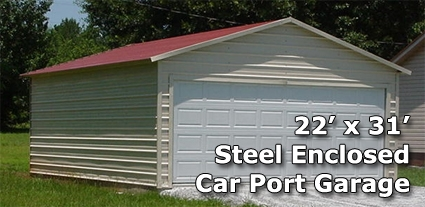 22 X 31 Fully Enclosed Carport Garage Installation Included