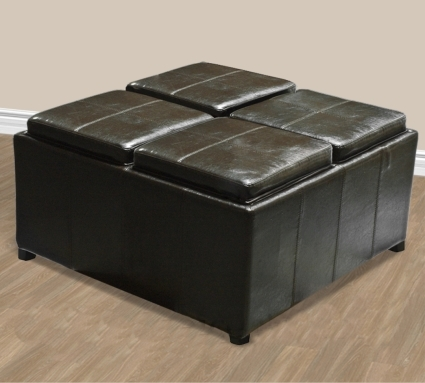 Brand New Brown Leather Ottoman With 4 Tray Tops Storage