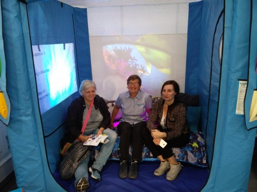 Sue King and visitors at REHACare 2018